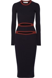 Victoria Beckham Cutout Ribbed Knit Midi Dress Navy