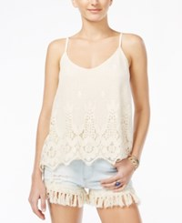 American Rag Juniors' Crocheted Scalloped Hem Tank Top Only At Macy's Off White