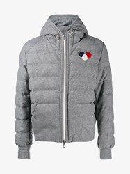 Moncler Asperge Wool Blend Quilted Hooded Jacket Grey Red White Blue Asparagus