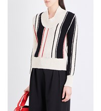 J.W.Anderson Striped Chunky Knit Jumper Off White