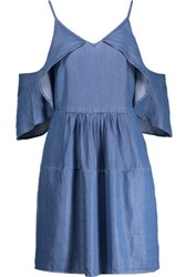 W118 By Walter Baker Maxwell Cold Shoulder Chambray Mini Dress Mid Denim