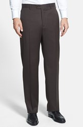 Men's Big And Tall Zanella 'Todd' Flat Front Trousers Black