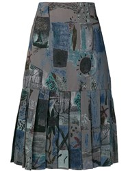 Jean Louis Scherrer Vintage Pleated Hem Skirt Grey