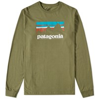 Patagonia Long Sleeve Shop Sticker Tee Green