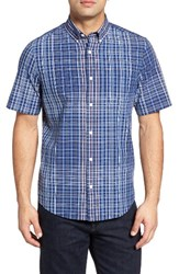 Nordstrom Men's Men's Shop Plaid Sport Shirt Blue Estate Ivory Egret Plaid