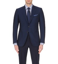 Tom Ford Single Breasted Mohair And Wool Blend Jacket Blue