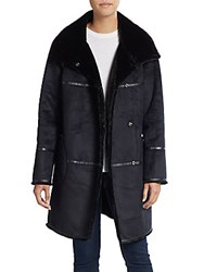 Saks Fifth Avenue Faux Shearling Coat Black