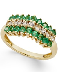 Macy's Emerald 5 8 Ct. T.W. And White Sapphire 1 3 Ct. T.W. Ring In 10K Gold Green