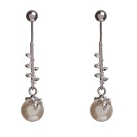 Kasun Ivory Pearl Drop Earrings Silver