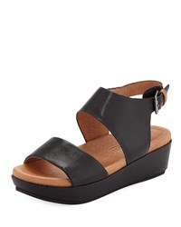 Gentle Souls Lori Leather Comfort Wedge Sandal Black