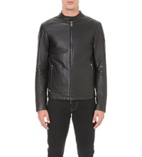 Armani Jeans Stand Collar Leather Jacket Black