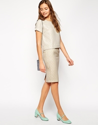 Traffic People Cloud Watching Jacquard Pencil Skirt Fawn