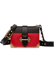 Prada Cahier Leather Shoulder Bag Red
