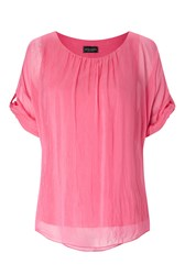 James Lakeland Silk 3 4 Sleeve Top Pink
