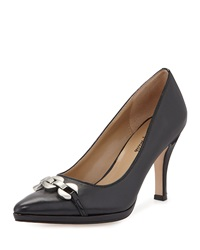 Neiman Marcus Jacki Embellished Pointed Toe Pump Navy