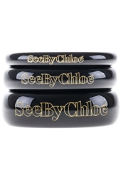 See By Chloe Stack Of Three Bangles Black