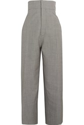 Jacquemus Houndstooth Wool And Mohair Blend Tapered Pants Black
