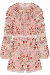 Needle And Thread Meadow Embellished Tulle Playsuit Pastel Pink