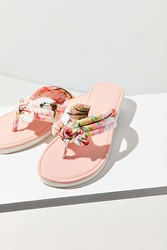 Urban Outfitters Tropical Print Thong Sandal Pink