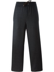 Piazza Sempione Drawstring Straight Cropped Trousers Grey