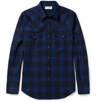 Saint Laurent Aint Lim Fit Checked Wool Flannel Wetern Hirt Blue