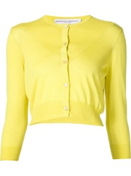 Carolina Herrera Cropped Fine Knit Cardigan Yellow And Orange