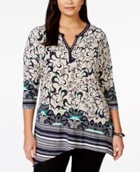Styleandco. Style And Co. Plus Size Embellished Split Neck Tunic Only At Macy's