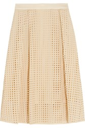 By Malene Birger Pamy Embroidered Cutout Cotton Midi Skirt White