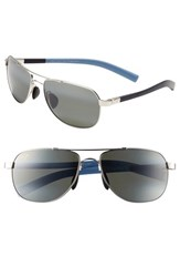 Men's Maui Jim 'Maui Flex Polarizedplus2' 56Mm Aviator Sunglasses Silver Blue Light Blue