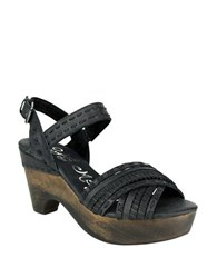 Naughty Monkey Calla Wooden Wedge Leather Sandals Black