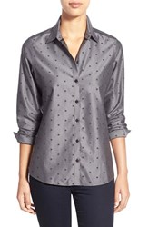 Petite Women's Foxcroft Dot Jacquard Wrinkle Free Shaped Shirt