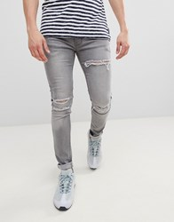 Soul Star Skinny Stretch Rip Jeans In Washed Black