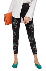 Topshop Jamie Embroidered Ankle Skinny Jeans Black Multi