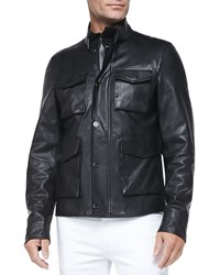 Michael Kors Pebbled Leather Jacket Black