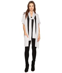 B Collection By Bobeau Romy Scarf Cardi Silver Women's Sweater