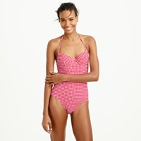 J.Crew D Cup Underwire Halter One Piece Swimsuit In Gingham Seersucker