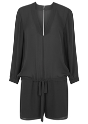Mason By Michelle Mason Charcoal Silk Georgette Playsuit