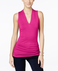 Inc International Concepts Ruched V Neck Top Only At Macy's Magenta Flame