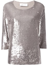 Iro Three Quarter Sleeve Sequin Top Metallic