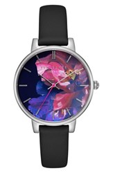 Ted Baker Women's London Kate Leather Strap Watch 38Mm Black Floral Silver