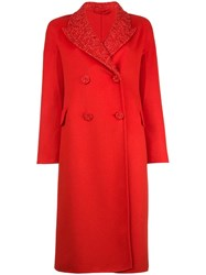 Ermanno Scervino Decorative Collar Double Breasted Coat Red
