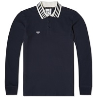 Adidas Spezial Long Sleeve Polo Night Navy And Chalk White