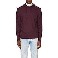 Barneys New York Striped Cotton Hoodie Red