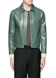 Acne Studios 'Adrien' Coated Leather Jacket Green