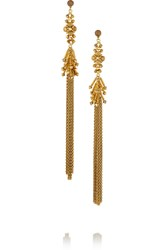 Erickson Beamon Hung Up Gold Plated Swarovski Crystal Earrings Metallic