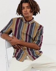 Brooklyn Supply Co. Co Relaxed Fit Shirt With Vintage Stripe In Tan Beige