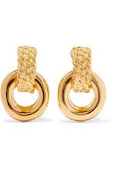 Kenneth Jay Lane Polished Gold Tone Clip Earrings One Size
