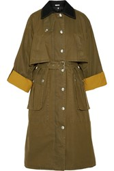 Miu Miu Wool Trimmed Waxed Cotton Coat Army Green