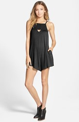Junior Women's Rvca 'Caliber' Woven Detail Romper Black
