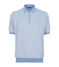 Stefano Ricci Cotton Silk Tipped Collar Polo Top Male Blue
